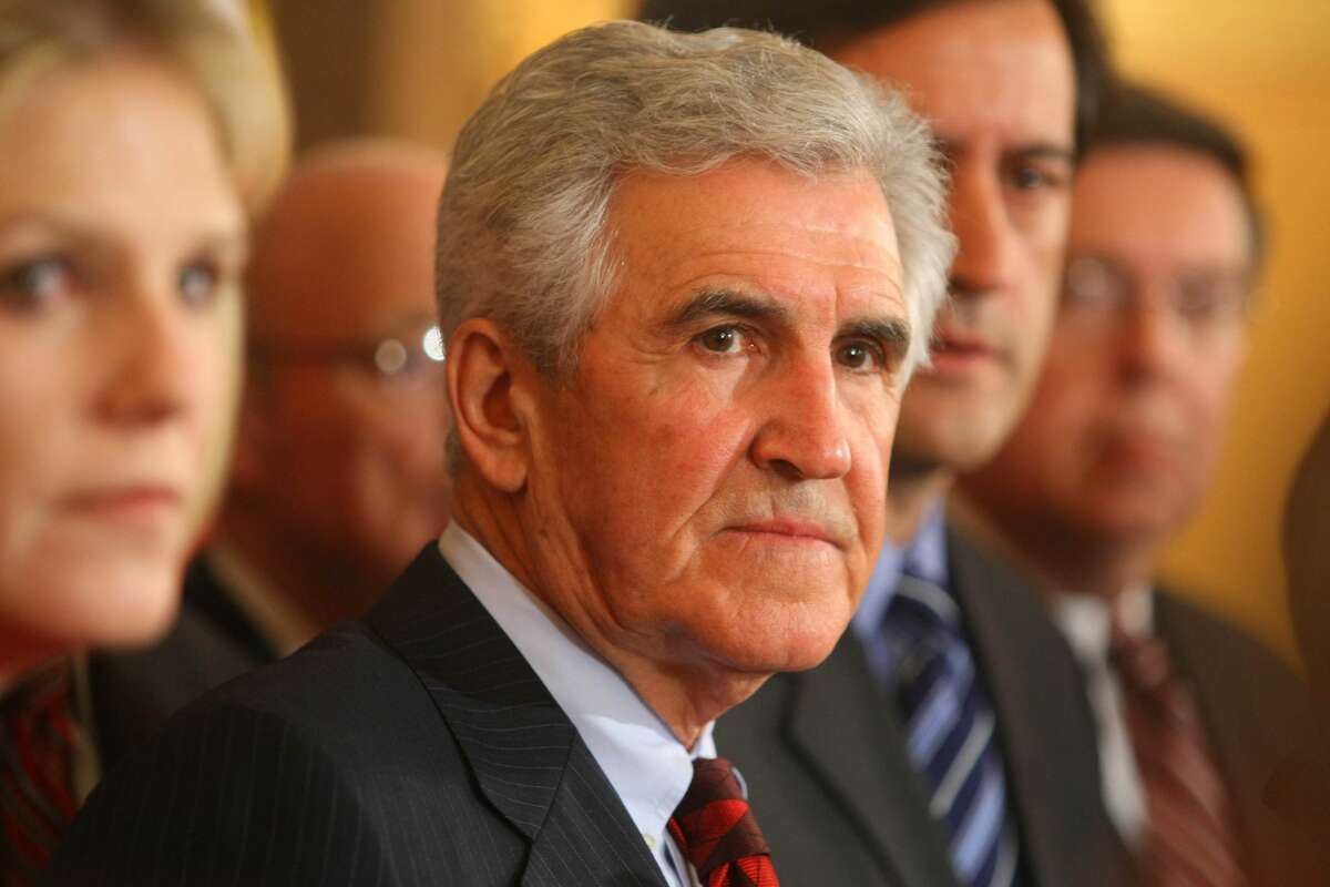 Senate Majority Leader Senator Joseph L. Bruno looks on during a news conference in the State Capitol in Albany, New York. (Photo by Daniel Barry/Getty Images)