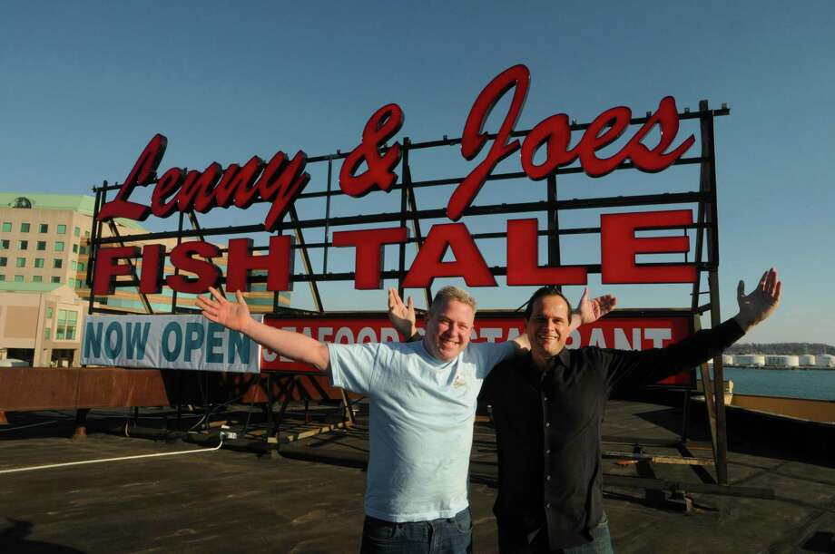 Brian Faye, left, and Art Linares, owners of Lenny & Joe's Fish Tale on Long Wharf Drive in New Haven in  November 2012. Photo: Peter Hvizdak / Hearst Connecticut Media File / ©Peter Hvizdak /  New Haven Register