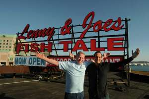 Brian Faye, left, and Art Linares, owners of Lenny & Joe's Fish Tale on Long Wharf Drive in New Haven in  November 2012.