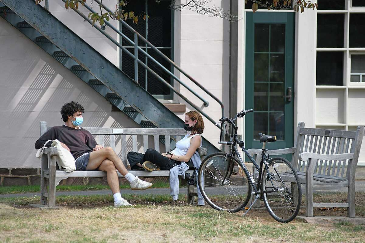 Wesleyan University students are required to wear face masks on the Middletown campus during the pandemic