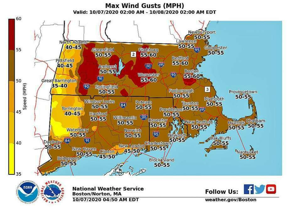The strongest gusts are expected between 5 and 11 p.m. on Wednesday, Oct. 7, 2020, according to the NWS's hourly forecast. Photo: NWS Graphic