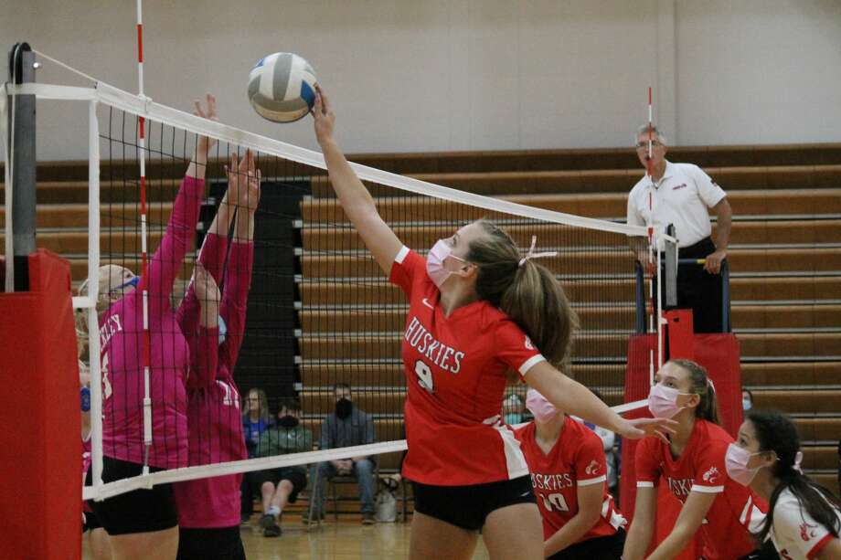 Benzie Central falls to Buckley during a five-set volleyball battle on Oct. 6 at Benzie Central. Photo: Robert Myers