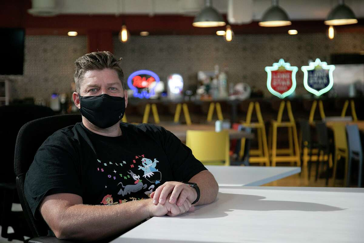 Matt Bruhn, general manager of Pabst Brewing Co., sits in the company's new headquarters at the Rand Building in downtown San Antonio on Oct. 6, 2020.