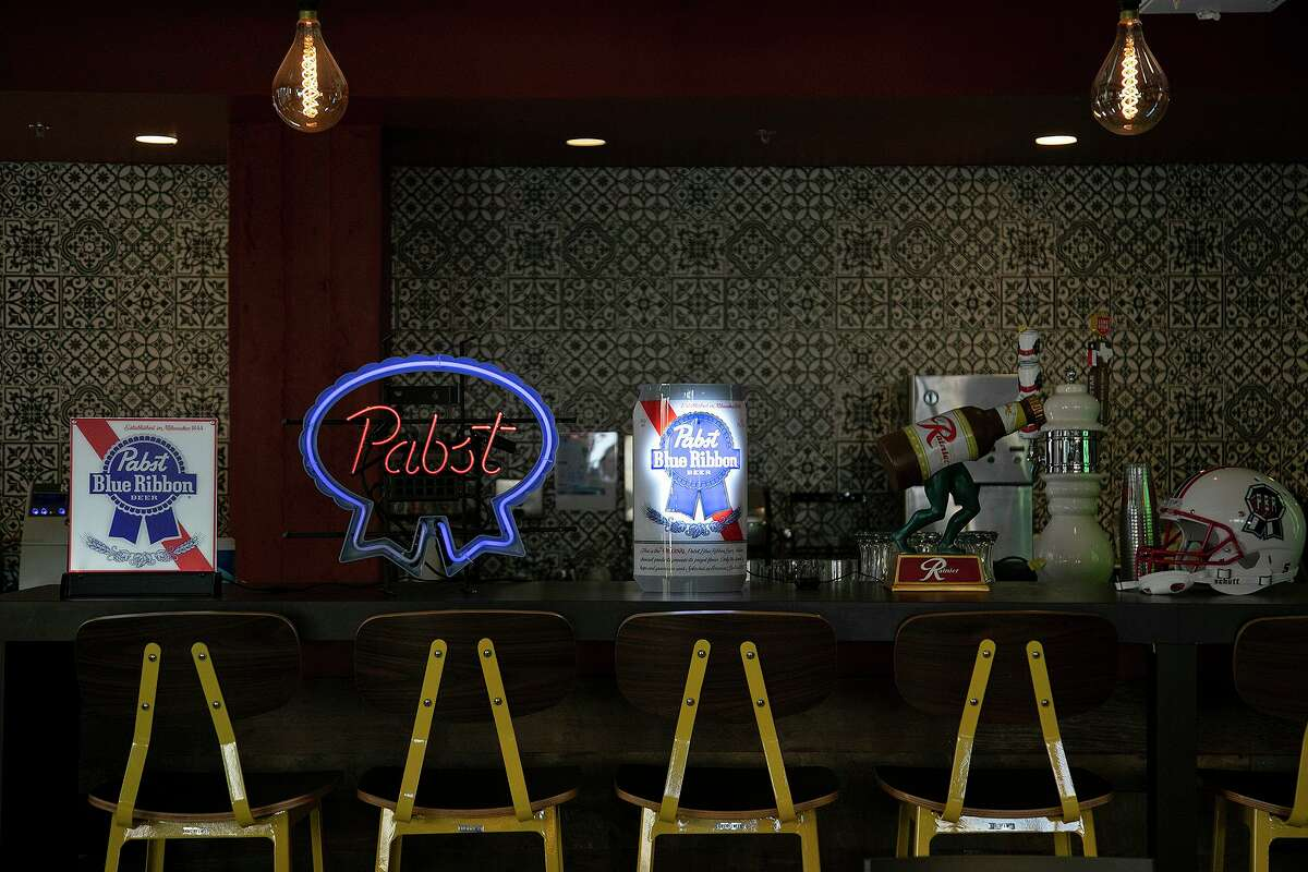 Part of the bar in Pabst Brewing Co.'s new headquarters at the Rand Building in downtown San Antonio.
