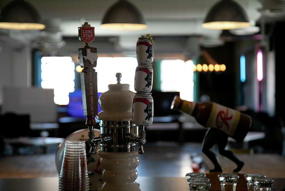 Taps on the bar in Pabst Brewing Co.'s new headquarters at the Rand Building, which is owned by local developer Weston Urban.