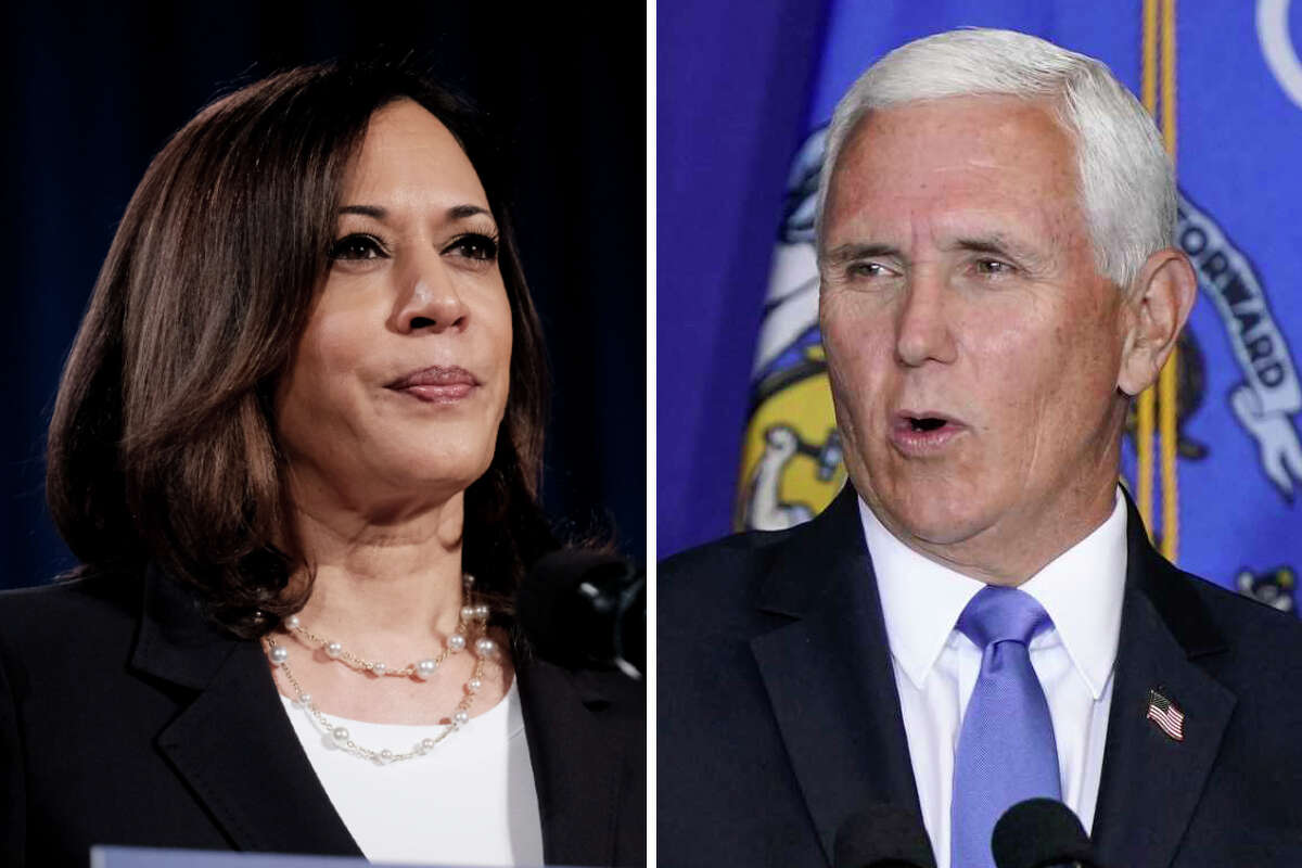 Sen. Kamala Harris and Vice President Mike Pence are pictured in this composite photo.