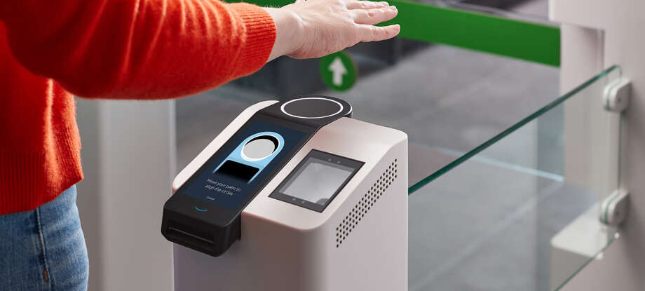 Amazon One is the company's new palm-scanning payment and entry system, currently being tested in two of its cashier-less Amazon Go stores. Photo: Amazon Handout Photo / Handout