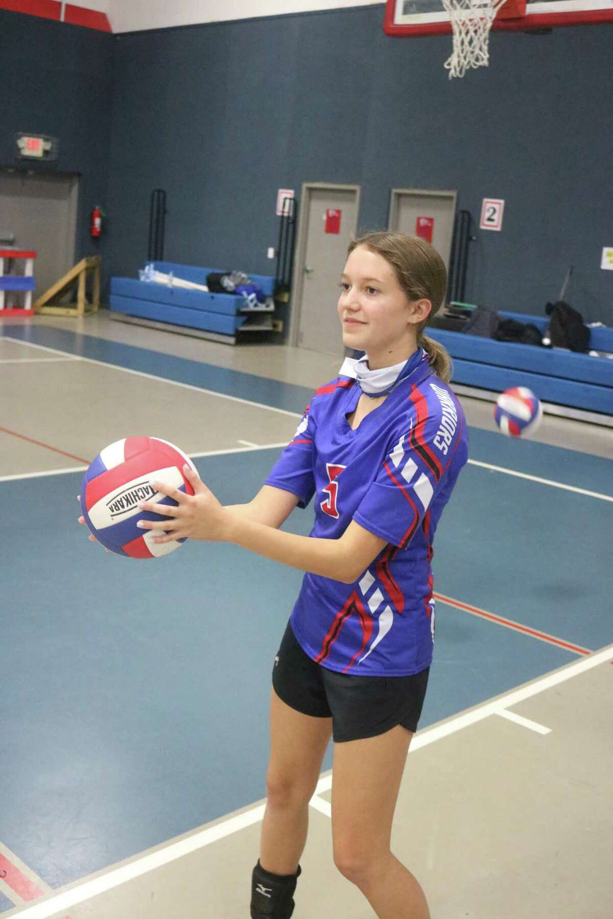 FBCA eighth grader Hayleigh Evans played a strong overall match in Port Arthur Monday night, especially in the passing department.