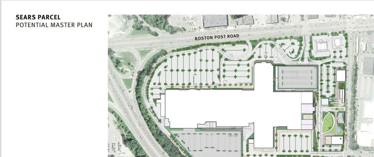 A rendering shows the Connecticut Post Mall in Milford with the addition of a proposed 300-unit apartment building.
