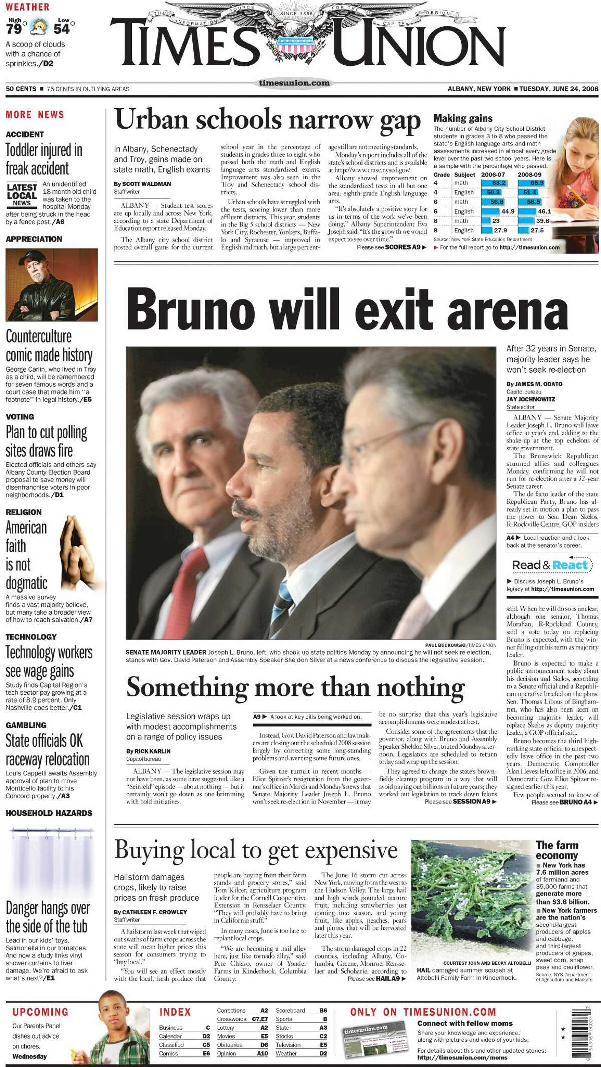 June 24, 2008: With the legislative session wrapping up, Bruno announces that he'll be retiring at the end of the year. Sen. Dean Skelos of Long Island is tapped as his successor.