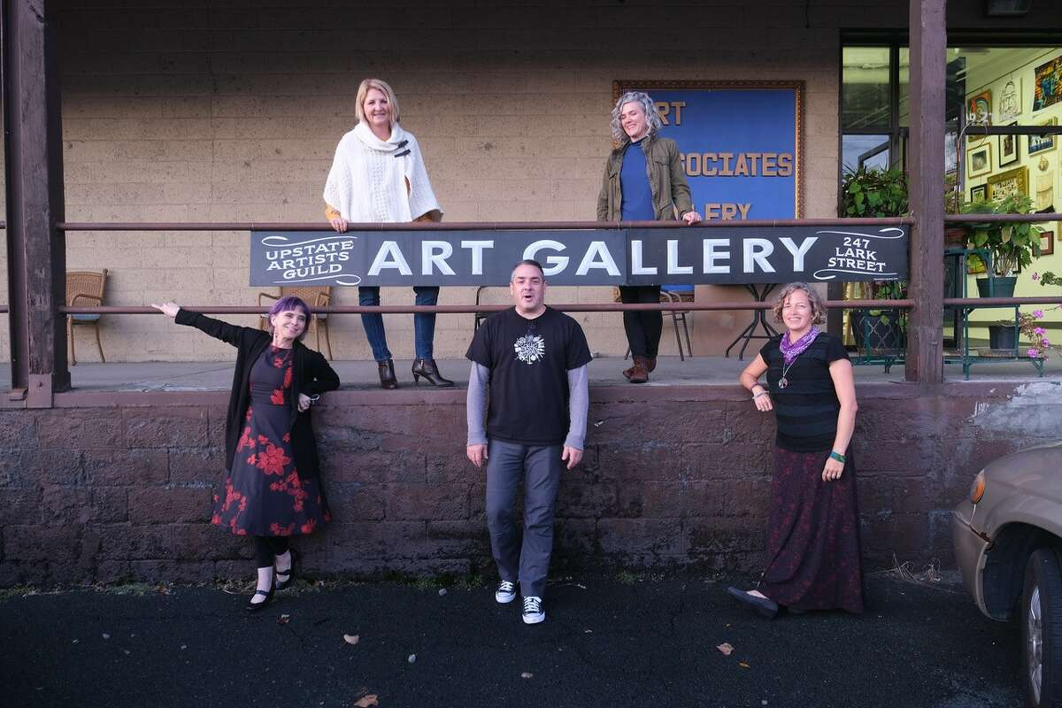 Outside of Art Associates on Railroad Avenue in Albany. Top row (from left): Christa Dijstelbergen-Ricci and Robyn Diaz. Bottom row (from left): Nina Stanley, Adam Furgang and Rebecca Schoonmaker. (credit: Benjamin Furgang)