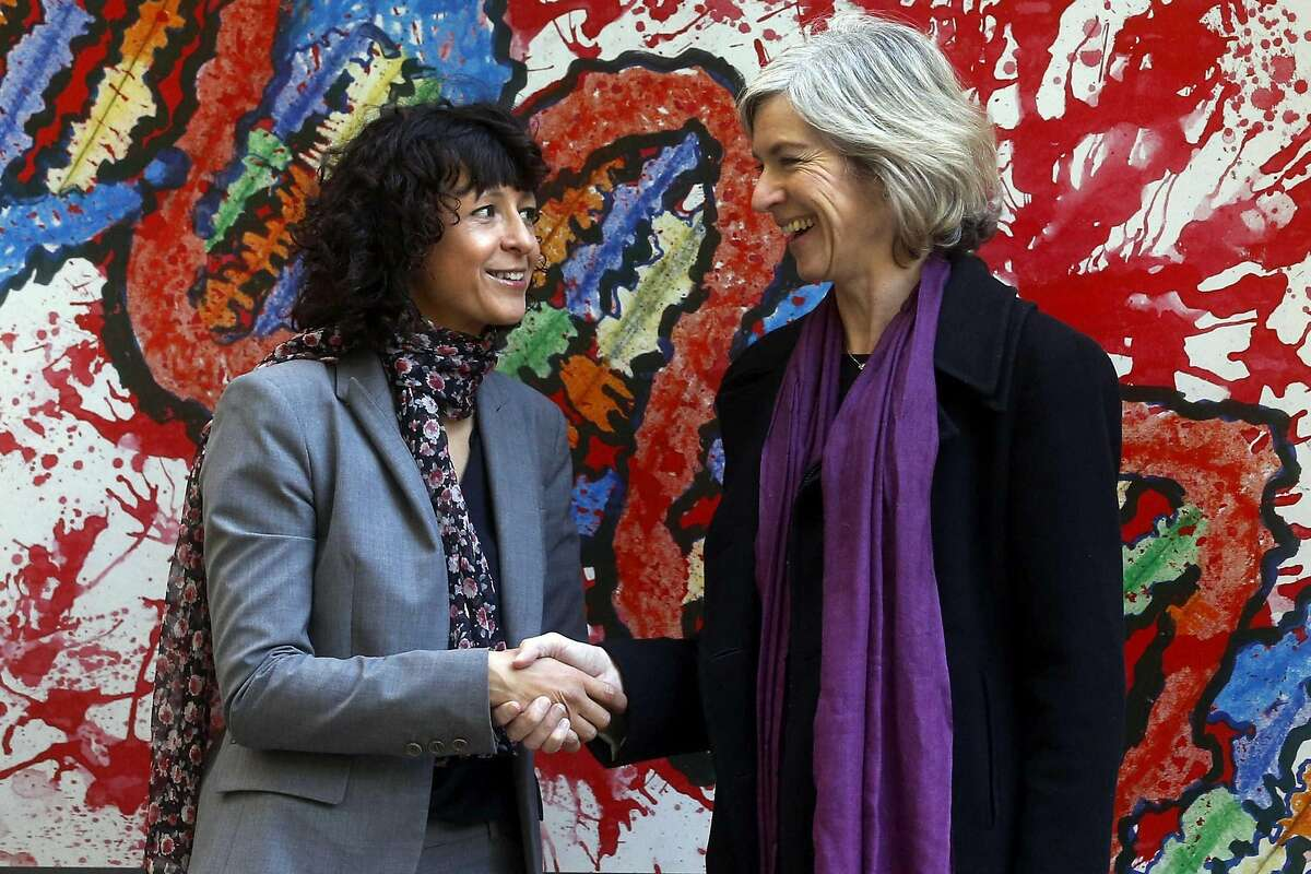 Scientists Emmanuelle Charpentier (left) and UC Berkeley's Jennifer Doudna, seen in 2015 in Spain, have won the Nobel Prize.