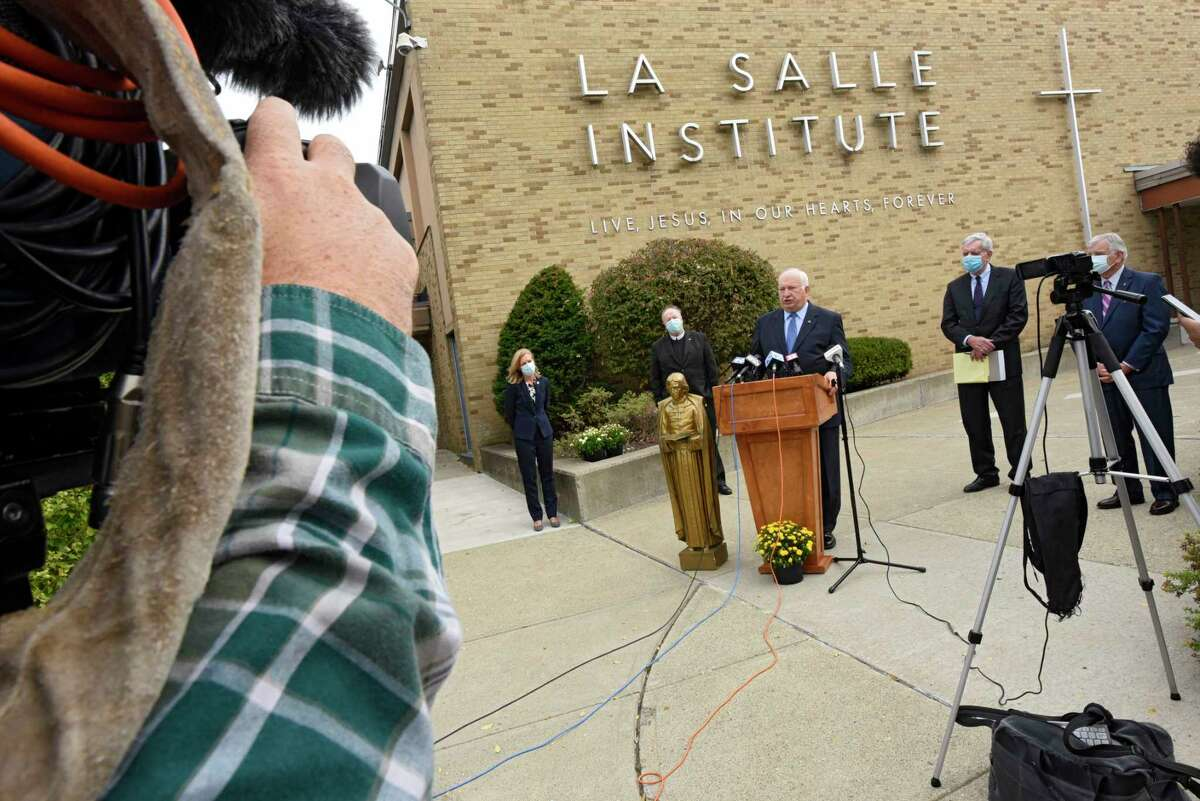 Principal and President Joseph Raczkowski speaks to the media as La Salle Institute holds a press conference to announce the school is admitting girls on Wednesday, Oct. 7, 2020 in Troy, N.Y. The school will admit girls beginning in September 2021.(Lori Van Buren/Times Union)