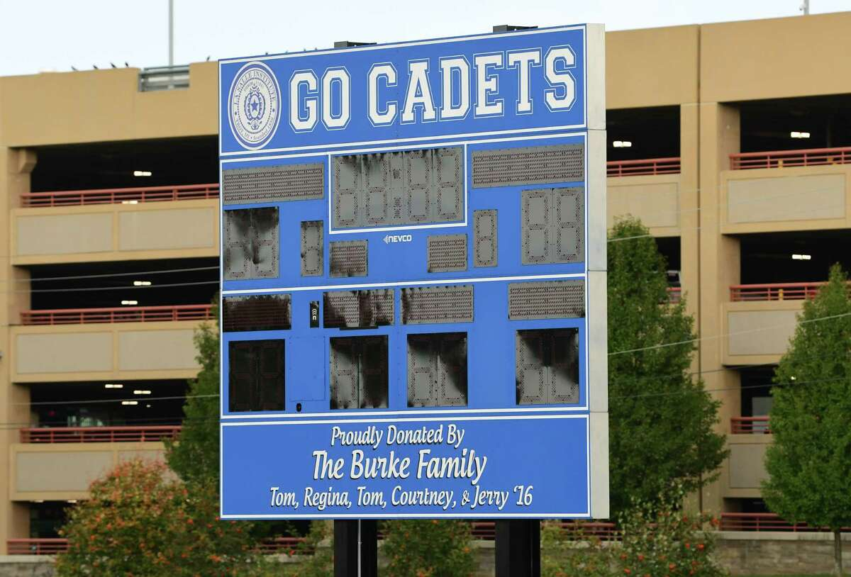 Scoreboard for the Cadets is seen at the football field at La Salle Institute on Wednesday, Oct. 7, 2020 in Troy, N.Y. La Salle Institute held a press conference to announce the school is admitting girls beginning in September 2021.(Lori Van Buren/Times Union)