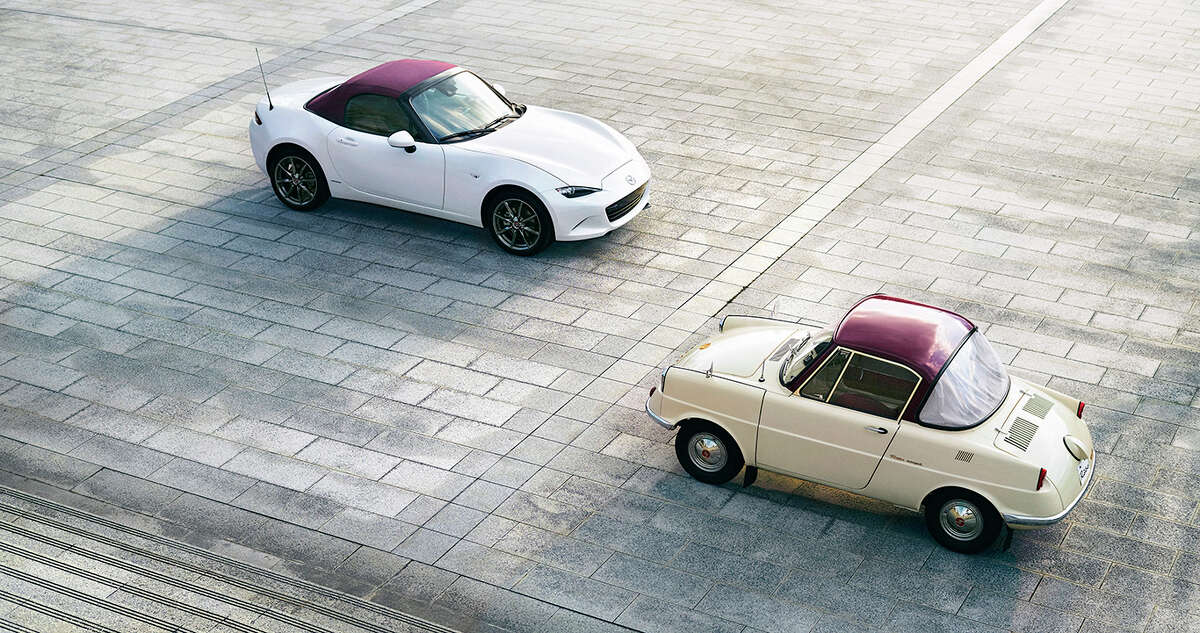 Mazda's 100th anniversary special edition MX-5 Miata roadster and the company's first passenger car, the R360.