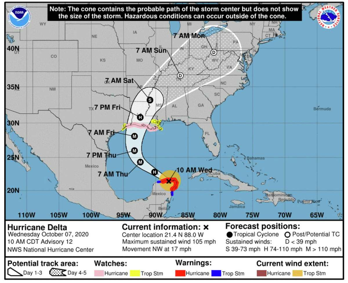 Hurricane Delta is currently over the Yucatan Peninsula and is expected to make landfall over Cameron Parish.