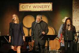 """Joan Osborne, Sherman Holmes and Catherine Russell perform as part of the """"City Winery 10th Anniversary: Remembering The Holmes Brothers"""" show in June 2019 in New York. Russell is a backup singer on Osborne's latest album."""