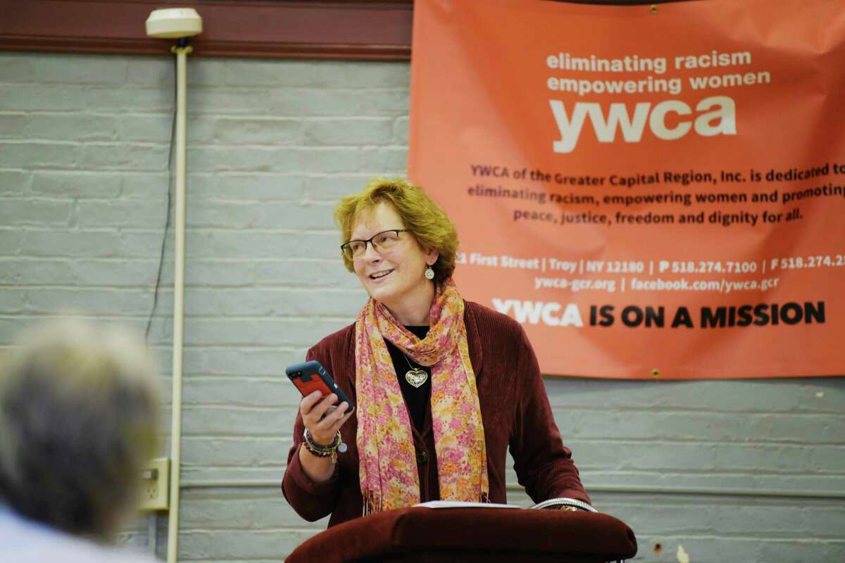 Judge Beth Walsh speaks during a ceremony at the YWCA of the Greater Capital Region on Wednesday, Oct. 7, 2020, in Troy, N.Y. Judge Walsh and Sherry Rounds, a former executive director of YWCA-GCR, were inducted as godmothers of the organization on Wednesday. The organization's Godparents are those who have given their time, talents, and treasures to the organization. The YWCA-GCR was founded in 1883. (Paul Buckowski/Times Union)