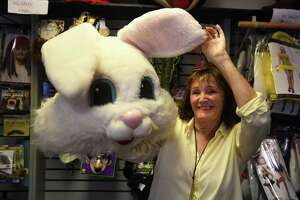 Eileen Petrillo with a rental rabbit costume at Characters & Costumes in Guilford, Conn. on Wednesday, October 7, 2020. Petrillo and husband Rich are closing the 32 year business in part because of effects of the Covid-19 pandemic.