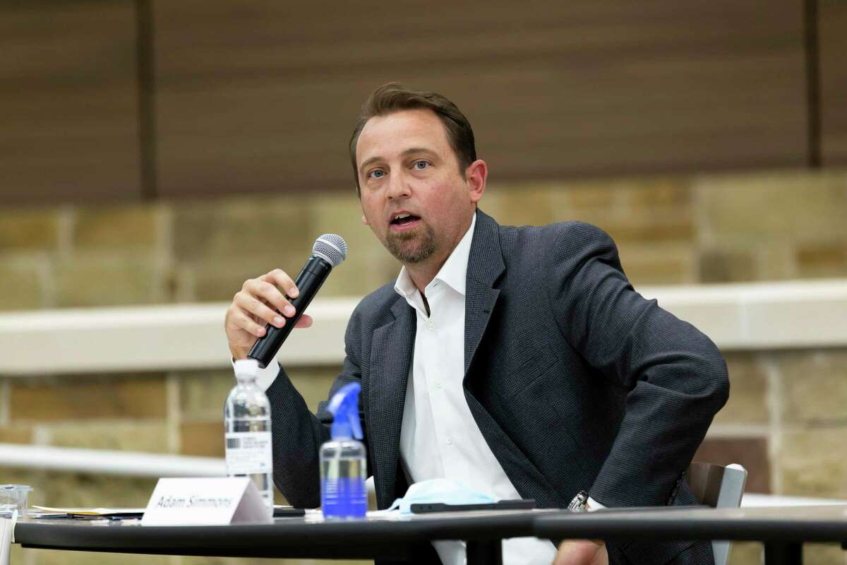Position 2 incumbent Adam Simmons speaks during a public forum held at Lake Creek High School for the Montgomery ISD Board of Trustees race, Tuesday, Oct. 6, 2020.