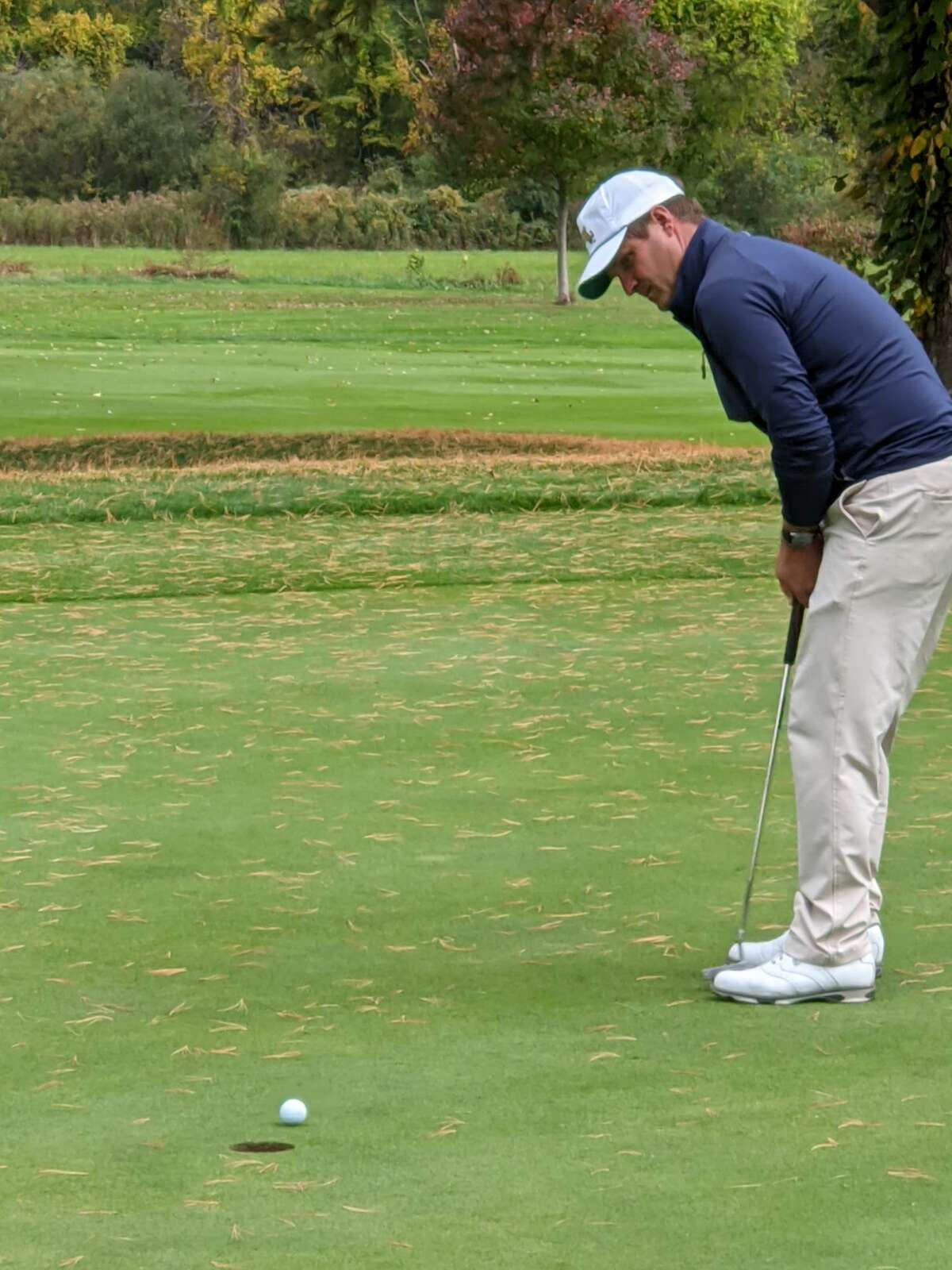 Pittsfield (Mass.) head pro Eric Mabee narrowly misses a birdie putt on the 14th hole during the Northeastern New York PGA Tour Championship on Wednesday, Oct. 7, 2020, at the Wyantenuck Country Club in Great Barrington, Mass. Mabee won the tournament by two strokes. (Pete Dougherty / Times Union)