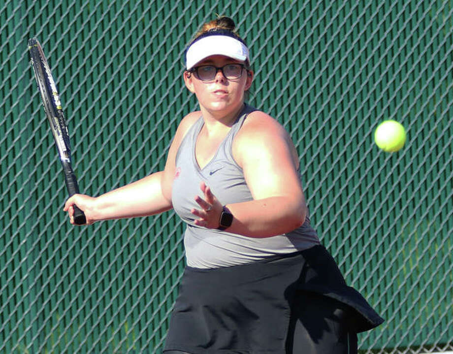 Alton's Lydia Criveau has climbed from junior varsity as a freshman to No. 1 singles and team captain as a senior. She's focusing on the Southwestern Conference Tournament, the postseason and playing college tennis next year. Photo: Greg Shashack   The Telegraph