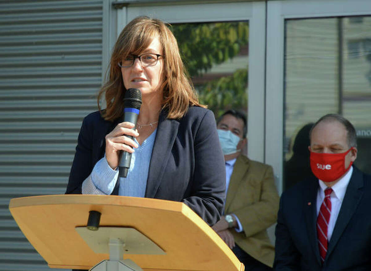State Rep. Katie Stuart, D-Edwardsville, was among the speakers Tuesday in a press conference at the Biotechnology Laboratory Incubator on the SIUE campus to announce a $1.47 million state grant to provide training for displaced workers.