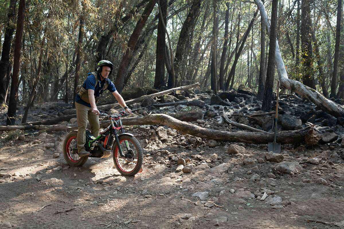 Jon Berlin, winemaker at El Molino Winery in Napa Valley, rode his Vertigo Trials Motorcycle around Spring Mountain during the Glass Fire to help spread communications about fire locations and extinguish flames.
