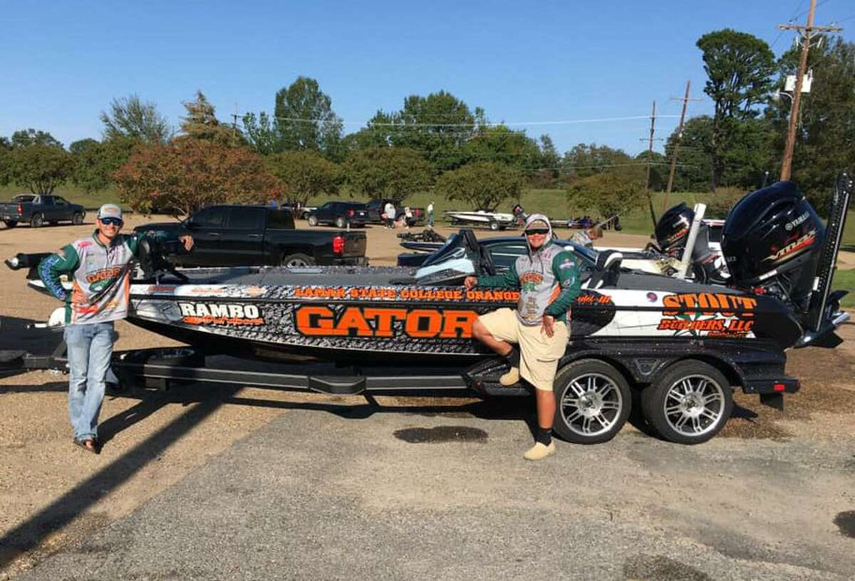 Lamar State College Fishing Club anglers Jack Tindel and Brett Fregia with their boat after placing 11th place in the Abu Garcia Fishing League Worldwide Collegiate Series at the Ouachita River on Sunday, Oct. 5, 2020 in Monroe Louisiana.