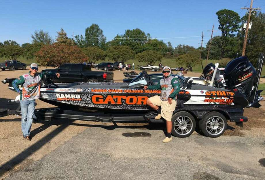 Lamar State College Fishing Club anglers Jack Tindel and Brett Fregia with their boat after placing 11th place in the Abu Garcia Fishing League Worldwide Collegiate Series at the Ouachita River on Sunday, Oct. 5, 2020 in Monroe Louisiana. Photo: Thera Celestine / Thera Celestine/Courtesy Lamar State College Orange Fishing Club