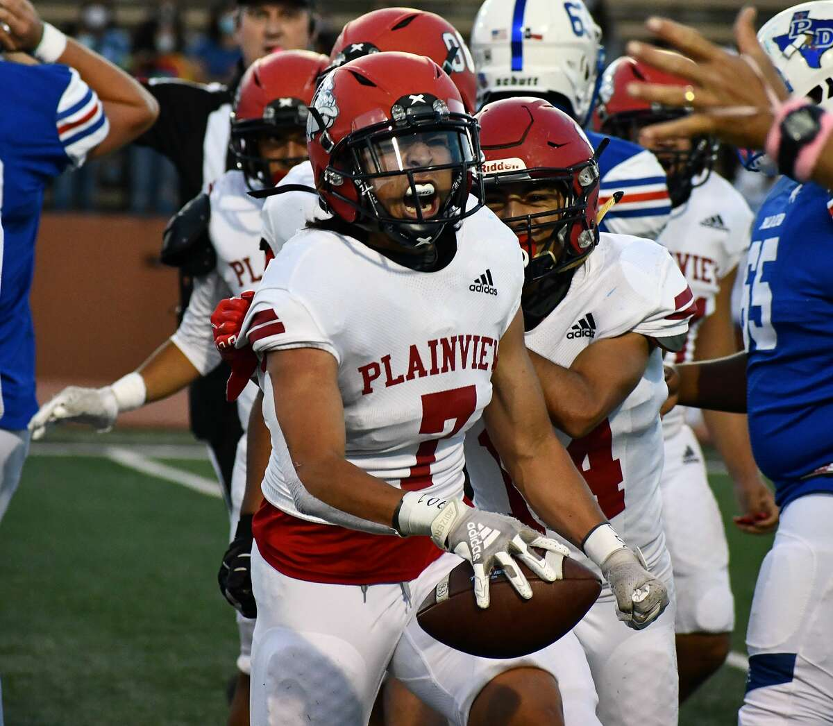 Plainview's Angel Medina celebrates his fumble recovery during a non-district high school football game against Amarillo Palo Duro on Oct. 1 in Dick Bivins Stadium in Palo Duro. Medina and the defense will get a new challenge when the Bulldogs host Lubbock for homecoming.