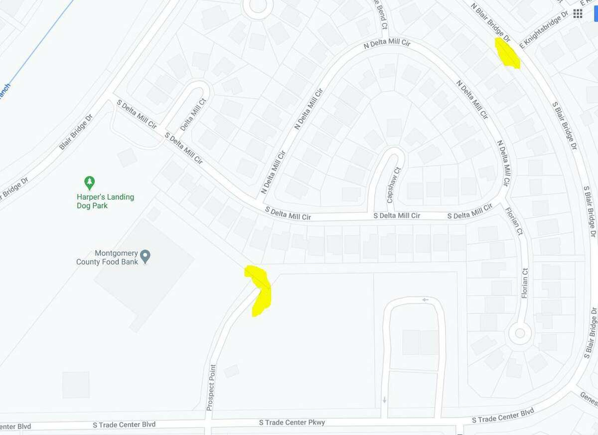 Residents in the Harper's Landing area of the eastern portion of The Woodlands have complained about removal of plants in two forest buffers and alleged illegal parking on a dead-end cul de sac near the Montgomery County Food Bank. Township officials said the areas will be reforested in the next two to eight weeks. The areas on this map highlighted in yellow will have native plants and trees planted in reforestation projects in the next few weeks.