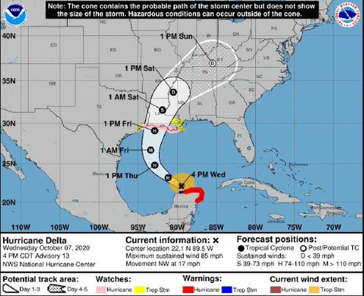 Hurricane Delta is expected to bring a storm surge up to 3 feet and tropical storm force winds to the southeast Texas coast when it makes landfall Friday, according to the National Weather Service.