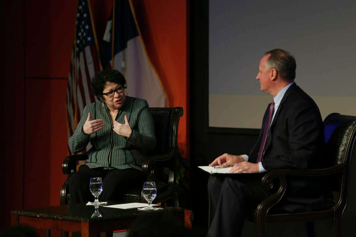U.S. Supreme Court Associate Justice Sonia Sotomayor answers a question posed by UTSA President Taylor Eighmy during her talk with students, faculty and staff at the university in 2018.