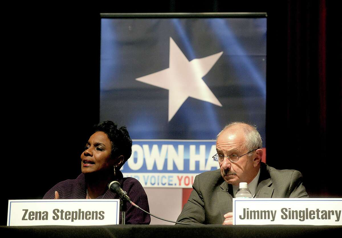 during a town hall meeting on race relations in Southeast Texas hosted by KFDM Wednesday night at the Event Centre. Several local officials, including Jefferson County Sheriff Zena Stephens, Beaumont Police Chief James Singletary, Newton County Sheriff Billy Rowles, and Beaumont NAACP President Paul Jones, were among the panel speakers who addressed public questions posed by listeners both live and online. Photo taken Wednesday, January 18, 2017 Kim Brent/The Enterprise