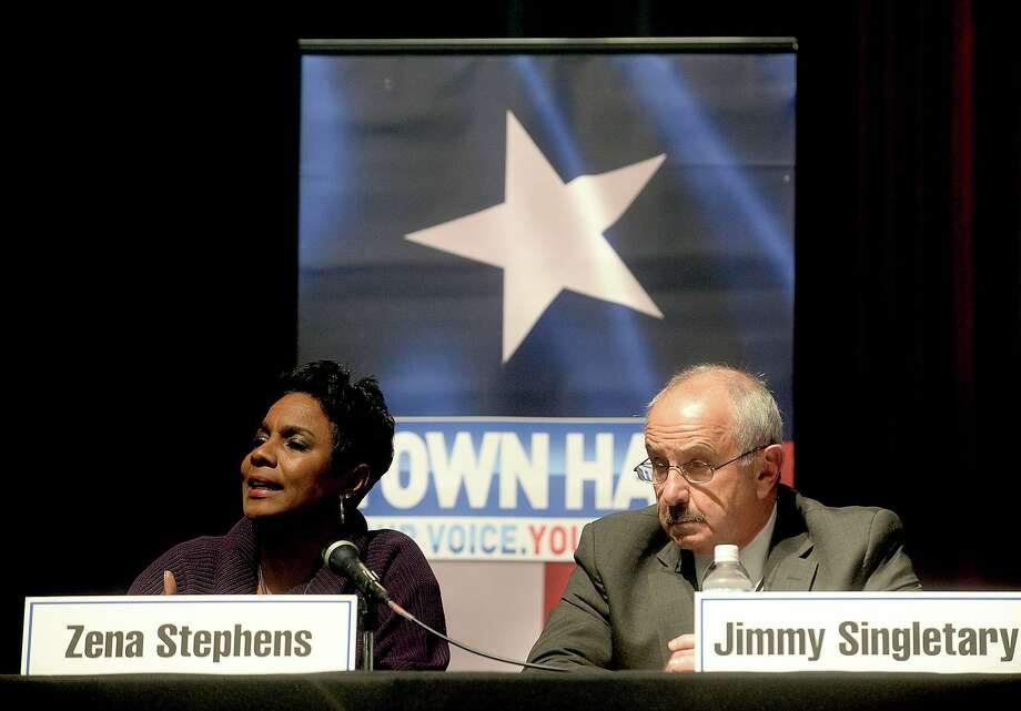 during a town hall meeting on race relations in Southeast Texas hosted by KFDM Wednesday night at the Event Centre. Several local officials, including Jefferson County Sheriff Zena Stephens, Beaumont Police Chief James Singletary, Newton County Sheriff Billy Rowles, and Beaumont NAACP President Paul Jones, were among the panel speakers who addressed public questions posed by listeners both live and online. Photo taken Wednesday, January 18, 2017 Kim Brent/The Enterprise Photo: Kim Brent / Kim Brent/The Enterprise / Beaumont Enterprise