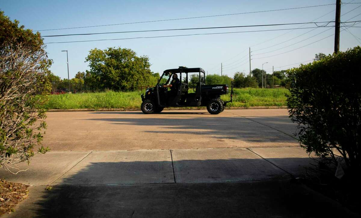 Houston Police Department Officer Daniel Mendoza in one of the department's two new Polaris vehicles at the S. Gessner police substation on Saturday Oct. 3, 2020. Mendoza, who has been with the department for 26 years, looks forward to using the vehicle as a means to seem more accessible to citizens in the areas he patrols.