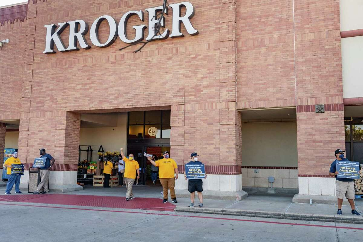Kroger employees picketed outside the Dowlen Road store on Tuesday afternoon as the company is shrinking their hazard pay and medical benefits during the pandemic. Photo made on October 06, 2020. Fran Ruchalski/The Enterprise