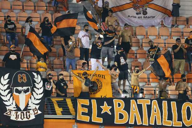 Houston Dynamo support groups cheering for the team's lead against the FC Dallas during the second half of a MLS match Wednesday, Oct. 7, 2020, at BBVA Stadium in Houston. Houston Dynamo defeated FC Dallas 2-0.