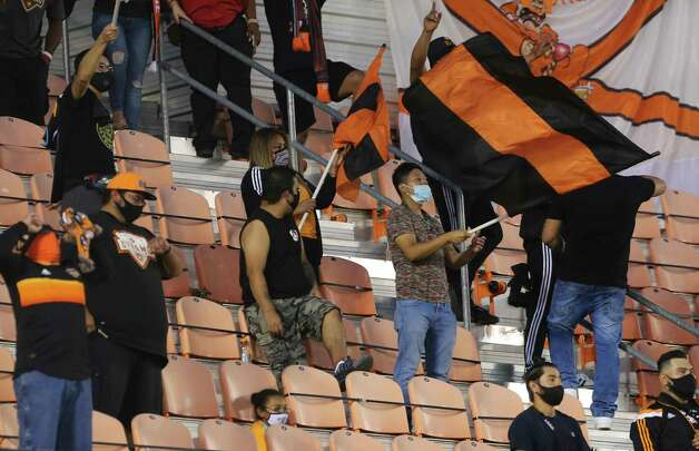 Houston Dynamo support groups cheering fo the team during the first half of a MLS match against the FC Dallas Wednesday, Oct. 7, 2020, at BBVA Stadium in Houston. Photo: Yi-Chin Lee, Staff Photographer / © 2020 Houston Chronicle