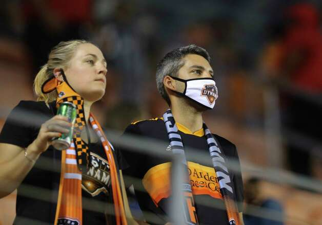 Houston Dynamo fans cheering for the team during the first half of a MLS match against the FC Dallas Wednesday, Oct. 7, 2020, at BBVA Stadium in Houston. Photo: Yi-Chin Lee, Staff Photographer / © 2020 Houston Chronicle