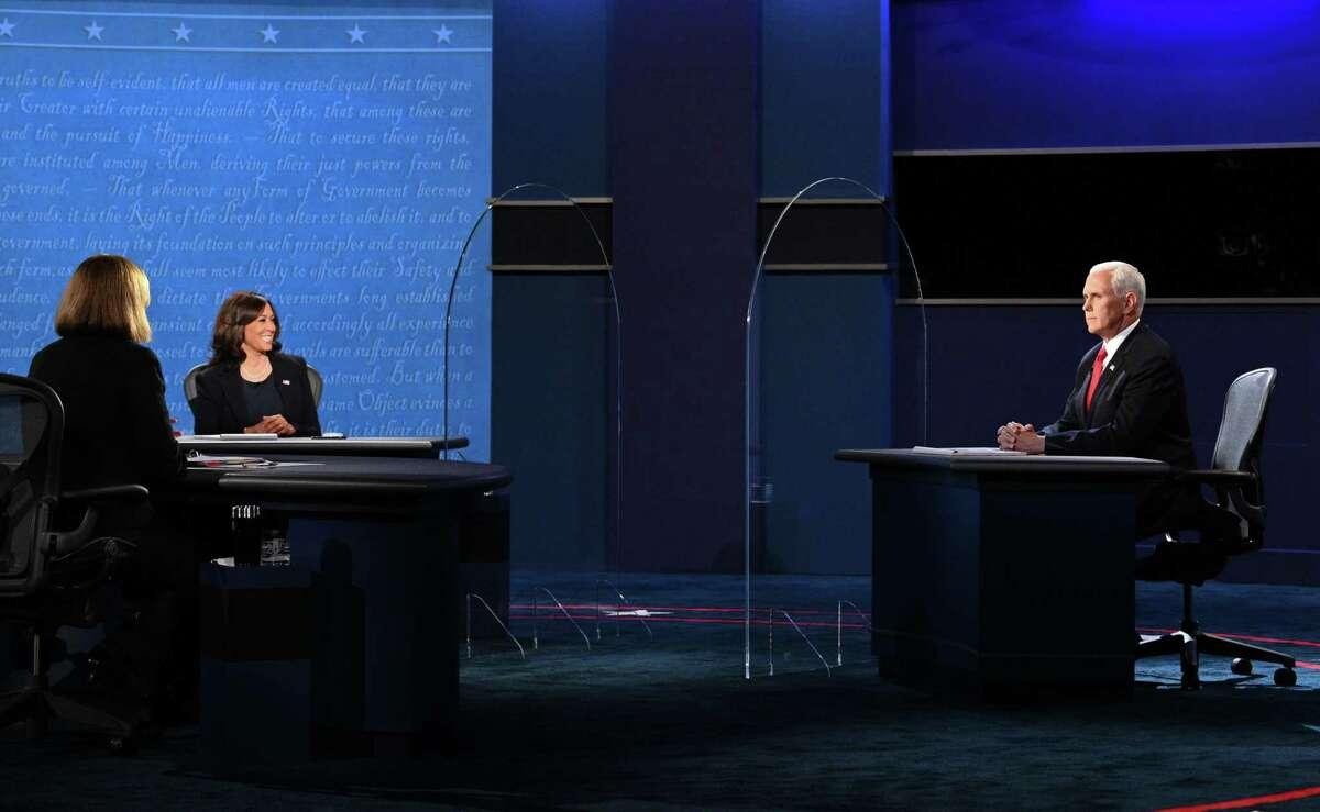 US Vice President Mike Pence Mike Pence (R) and US Democratic vice presidential nominee and Senator from California, Kamala Harris participate in the vice presidential debate in Kingsbury Hall at the University of Utah on October 7, 2020, in Salt Lake City, Utah.