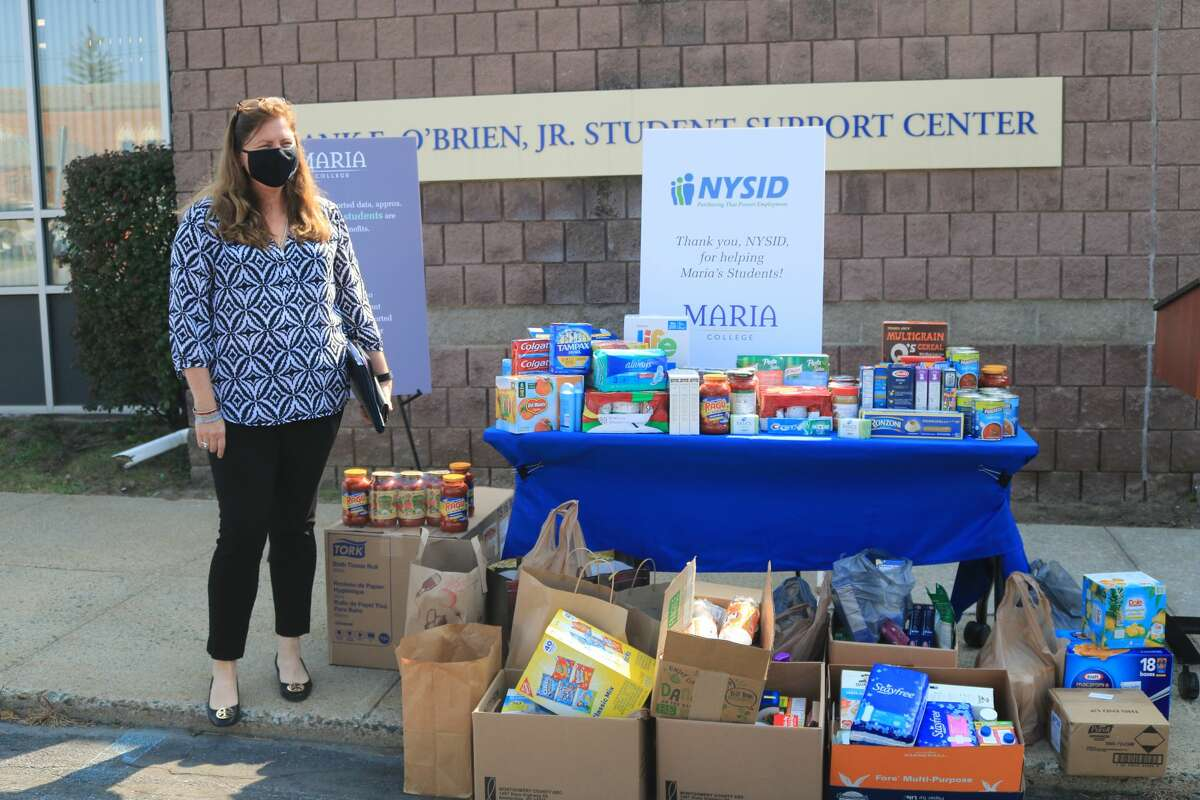 NYSID volunteers organized a food drive for Maria College, which was founded as a coed Catholic school designed for economically disadvantaged students, many of whom are studying for healthcare careers. Food insecurity is a huge problem for many students.