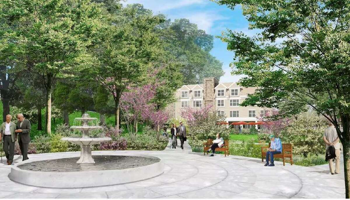 A rendering of a proposed residential complex for seniors on Old Track Road.