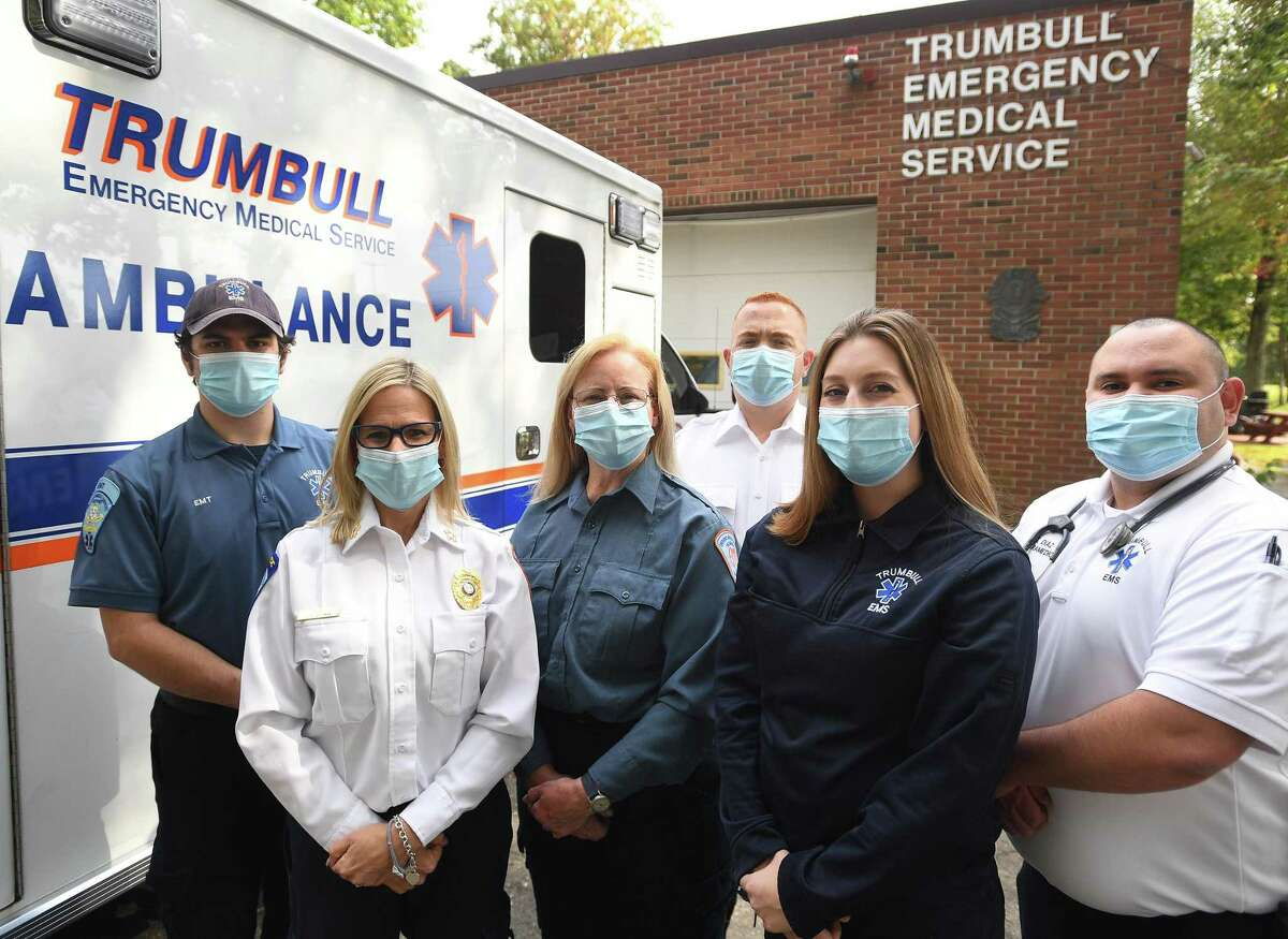 Trumbull EMS, winner of agency of the year from the CT EMS Council, from left; Matthew Pond, Chief Leigh Goodman, Meg Zeitler, Andrew Weber, Lauren Pettinella, and Eric Diaz, in Trumbull, Conn. on Wednesday, October 7, 2020.