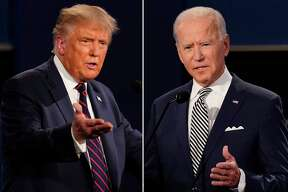 This combination of Sept. 29, 2020, photos shows President Donald Trump, left, and former Vice President Joe Biden during the first presidential debate at Case Western University and Cleveland Clinic, in Cleveland, Ohio. The Commission on Presidential Debates says the second Trump-Biden debate will be 'virtual' amid concerns about the president's COVID-19.