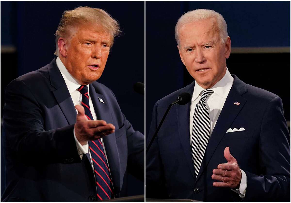 This combination of Sept. 29, 2020, photos shows President Donald Trump, left, and former Vice President Joe Biden during the first presidential debate at Case Western University and Cleveland Clinic, in Cleveland, Ohio.