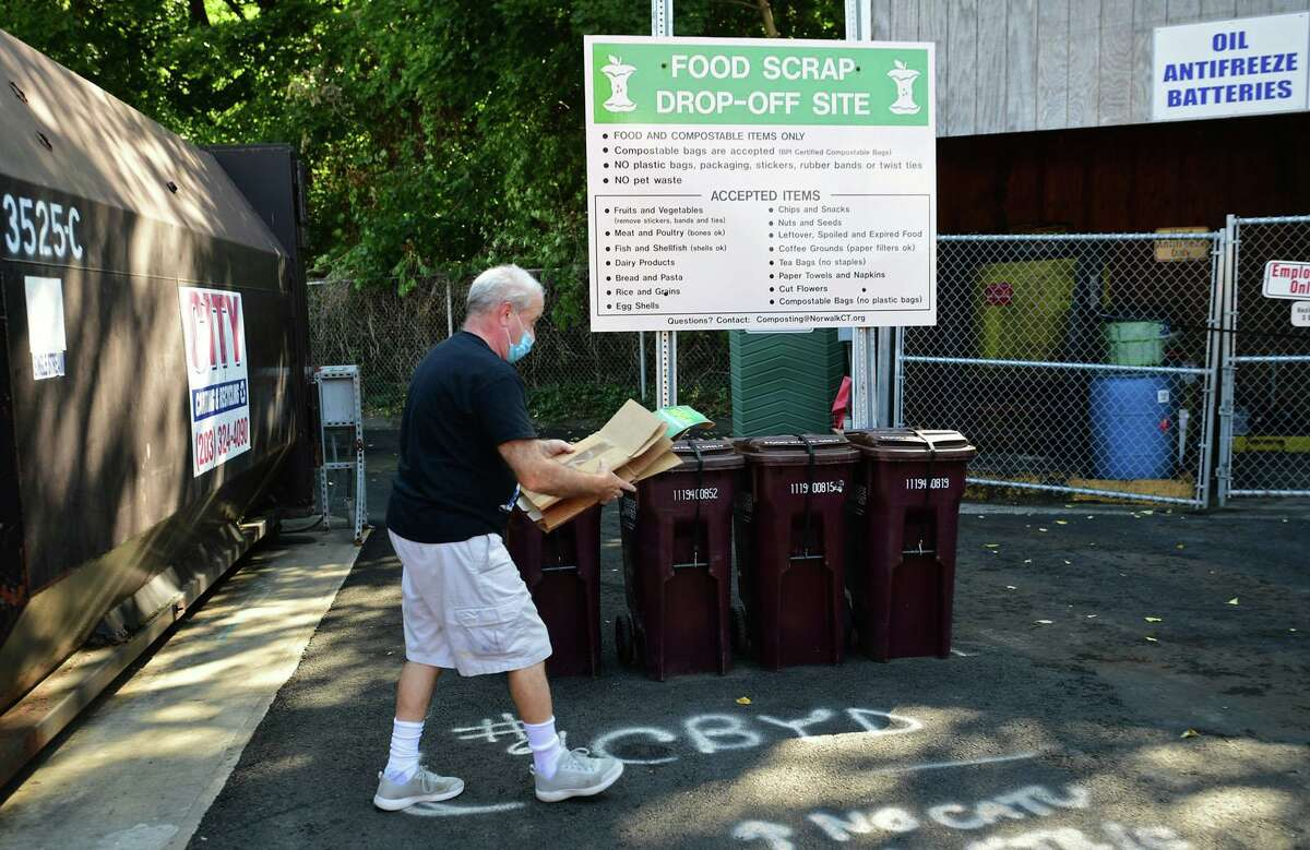 The food waste drop-off site at the Norwalk transfer station Tuesday, October 6, 2020, in Norwalk, Conn. The city kicked off a food waste management program earlier this year to much success. The program began in Rowayton and spread to the transfer station in July.