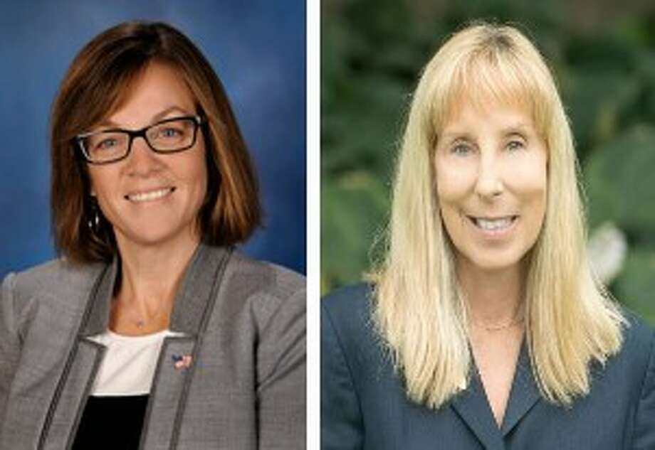 Incumbent Katie Stuart, D-Edwardsville, left, is challenged by former Madison County Board member Lisa Ciampoli, a Republican from Maryville. Photo: For The Intelligencer