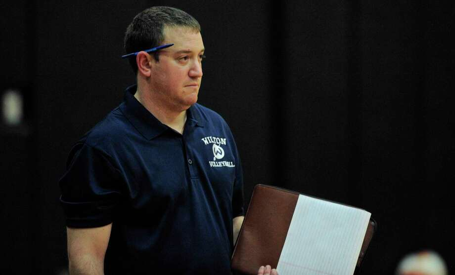 Wilton girls volleyball coach Steve Brienza (file photo) said some adjustments helped his team beat Ridgefield on Monday, avenging a loss to the Tigers last week. Photo: H John Voorhees III / Hearst Connecticut Media / The News-Times